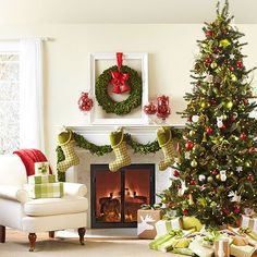 ♥  Red and Lime Green Christmas Tree and decor