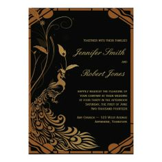 Bronze Art Deco Peacock and Floral Wedding Personalized Invitations