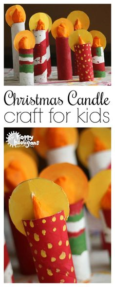 weihnachten kerzen Kids can make this easy Christmas candle craft with a few paper towel rolls and some tissue paper. Theyll look gorgeous on a mantel or holiday table - Happy Hooligans Christmas Crafts For Kids, Christmas Activities, Christmas Projects, Kids Christmas, Holiday Crafts, Advent For Kids, Christmas Crafts With Paper, Christmas Decoration Crafts, Christmas Trees