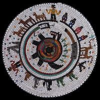 Navajo coyote story collage basket