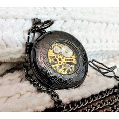 Personalized pocket watch, engraved black pocket watch, mechanical... ($34) ❤ liked on Polyvore featuring jewelry, watches, skeleton pocket watch, pocket watch, vintage jewelry, pocket watches and vintage wrist watch