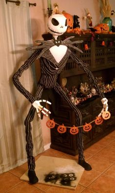 for Stephanie !!! PVC Life Size Jack Skellington...step by step How-to  next year!!!  I would have to put him up on my roof though to look out over people as they drive by...