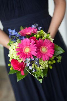 bright bouquets from Tim & Anne's modern, brightly colored Northern VA wedding