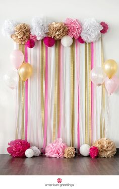 Pink and Gold Birthday Party Ideas- pink and gold tissue paper pom-pom backdro… Pink und Gold Geburtstagsfeier Ideen – rosa und Gold Seidenpapier Pom-Pom Hintergrund – …– – Diy Party Decorations, Baby Shower Decorations, Pink And Gold Decorations, Diy 21st Birthday Decorations, Crepe Paper Decorations, Streamer Decorations, 18th Birthday Decor, Gold Tissue Paper, Ideas Para Fiestas