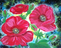 3 Poppy flowers by Elizabeth Janus