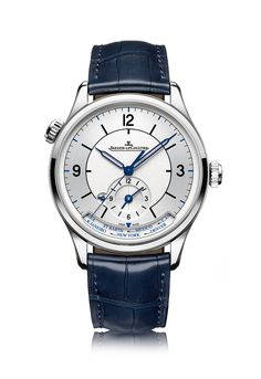 The @jlcwatches Master Geographic – this 39 mm watch, enhanced with blue highlights, features a second-time-zone indicator and comes on a dark blue alligator leather strap.  Its movement is Jaeger-LeCoultre Caliber 939A/1, with automatic winding and a 43-hour power reserve. More @ http://www.watchtime.com/wristwatch-industry-news/watches/jaeger-lecoultre-marks-25-years-of-master-control-with-three-new-timepieces/ #jaegerlecoultre #watchtime #menswatches #watchnerd
