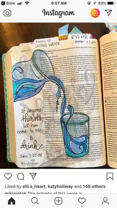"""The entirety of this verse is. """"On the last day of the feast, the great day, Jesus stood up and cried out, """"If anyone thirsts, let him… Bible Drawing, Bible Doodling, Scripture Art, Bible Art, New Bible, Bible Study Journal, Illustrated Faith, New Testament, Word Art"""