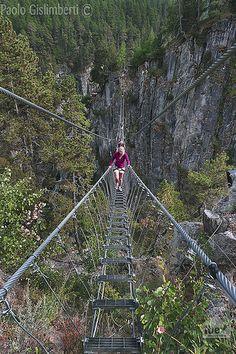 Basilicata - Gorge di San Gervasio, tibetan bridge over the St. Gervasio gorges ...