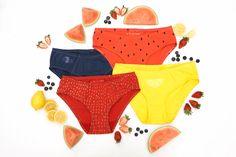 a137c7adafbf Fruit Salad Women's Handmade Underwear Multi-Pack - Strawberry, Watermelon,  Lemon &. La Vie en Orange