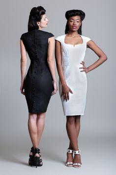 Control Top Button Back Dress - Byron Lars Beauty Mark Byron Lars, Cheap Fashion Jewelry, Black White Fashion, Button Dress, Dress Backs, Dress Outfits, Peplum Dress, Fashion Top, Fashion Design