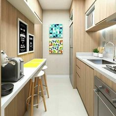Cheerful and cozy kitchen in the hallway ! Kitchen Room Design, Home Room Design, Kitchen Colors, Kitchen Interior, Kitchen Decor, Kitchen Walls, Narrow Kitchen, Cozy Kitchen, Condo Interior Design