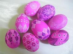 Fuchsia Colored Decorated Eggs