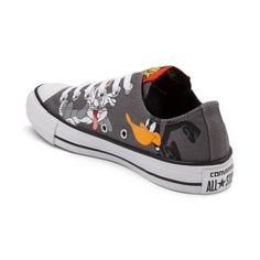 <p>This season, take a quack at the new Chuck Taylor All Star Lo Looney Tunes Daffy and Bugs Sneaker from Converse! These Looney Tunes Chucks showcase quirky graphics of the dynamic duo, Daffy Duck and Bugs Bunny, printed on a sturdy canvas upper with signature Converse rubber cap toe. <b>Only available at Journeys and Underground by Journeys!</b></p> <p><u>Features include</u>:</p> <ul> <li> Low top style constr...