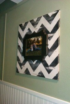 A Dollop of My Life: {DIY} Stacked Chevron Picture Frame.