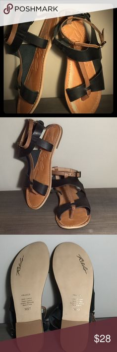 Rebels flat leather sandals Rebels flat leather sandal, NWOT, size 7, nude and black, never worn! Super cute! Rebels Shoes Sandals