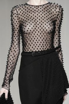 Transparency - black pearl embellished sheer top; bold fashion details // Reinaldo Lourenço