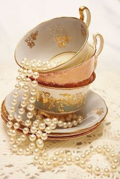 Pearl Necklace and Vintage Teacups