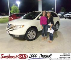 #HappyAnniversary to Blanca Carrillo on your 2008 #Ford Truck #Edge from Donald Weintraub at Southwest KIA Rockwall!