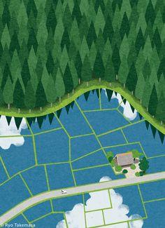 Simple Illustration, Landscape Illustration, Graphic Illustration, Ryo Takemasa, Dna Art, Comic Tutorial, Lines Wallpaper, Artwork For Home, Floral Drawing