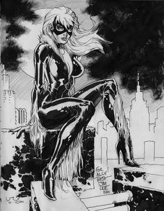 Jim Lee Black Cat Sketchbook Commission, in Joe L's Jim Lee Comic Art Gallery Room - 730201 Tap the link Now - The Best Cat Products We Found Worldwide Black Cat Marvel, Black And White Comics, Black And White Artwork, Comic Book Artists, Comic Book Characters, Comic Artist, Comic Character, Comic Books Art, Marvel Characters