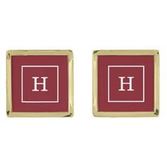 Burgundy White Framed Initial Monogram Gold Cufflinks