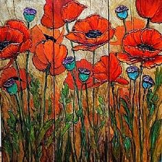 Poppy Garden 4 by Carol Nelson Acrylic ~ 24 x 24