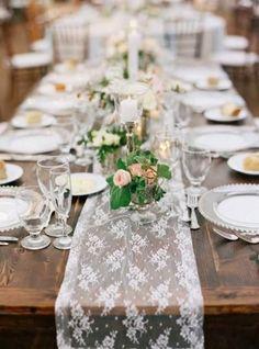 Tischdekoration, Tischläufer aus Spitze, Hochzeitsdekoration, Blumen, vintage