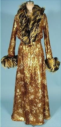 1970's BOB MACKIE / RAY AGHAYAN Bronze Leopard Print Lame Halter Gown with Matching Bolero Jacket Trimmed in Fabulous Fantasy Feathers at Neckline and Cuffs!