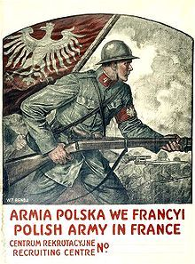 WWI recruitment poster for the Polish Army in France, by Wladyslaw Benda