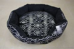 Silver Bloom Black Dog Bed - Large