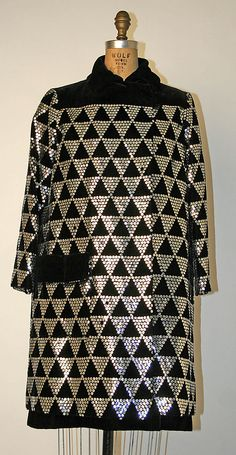 Evening ensemble, Jo Copeland, 1965-70, American; silk, plastic, glass