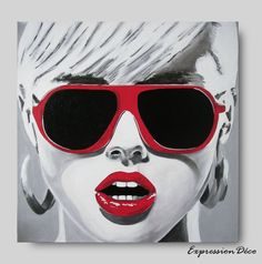 ANGELINE acrylique sur toile 40 x 40 cm , $114.00 Arte Lowrider, Sunglasses Women, Artwork, Style, Persona, Canvases, Projects, Woman, Swag