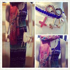 #spring #fashion #trend #blue #green #white #tie #dye #maxi #dress #pink #floral #scarf #accessories #jewelry #white #beads #cross #infinity #bracelets #crossbody #bag #handbag #purse #boutikmika