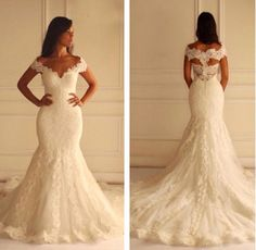 Weddings Elegant Mermaid Beach Wedding Dresses 2016 New V Neck Cap Sleeve Bridal Dresses Zipper Lace Wedding Dresses