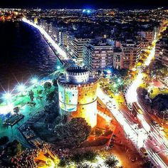 Thessaloniki by night, Greece City Lights At Night, Night City, Greece Photography, Travel Photography, Beautiful Islands, Beautiful Places, Macedonia Greece, Greece Thessaloniki, Oh The Places You'll Go