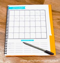 Find creative craft tutorials, simple recipes, printables and more at Artsy-Fartsy Mama Monthly Menu Planner, Menu Planner Printable, Menu Planners, Planner Pages, Blogging, Home Management Binder, Learn Calligraphy, Craft Tutorials, Getting Organized