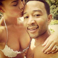 Chrissy Teigen & John Legend's Italian Honeymoon Is Full of Cleavage and Sweet Kisses   E! Online