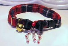 Red Tartan Plaid Cat Collar by FastigesMadeWithLove on Etsy, This sophisticated breakaway collar will make your feline companion the envy of the neighborhood. Tartan plaid is a wonderful accompaniment to the all brass hardware and a matching removable bell. It's adorned with a black stiffened grosgrain bow and red Czech bead, then (to really make a statement) we've added clear faceted beads with tiny red decorative embellishments :D