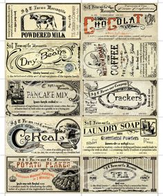 Vintage Canister Label Set- Pantry Labels, Antique Decor, Farmhouse, C… Vintage Pantry, Vintage Labels, Vintage Ephemera, Vintage Design, Vintage Images, Vintage Style, Printable Labels, Printables, Vintage Canisters