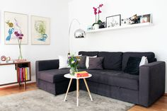Scandinavian inspired living room with Picasso art