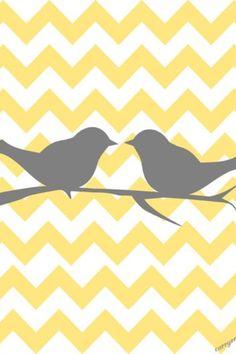 Bird yellow and gray chevron. So cute as a lock screen.