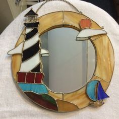 Tiffany Styled Stained Glass Mirror with Lighthouse 9047 F | eBay