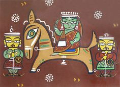 Queen Riding Horse - Jamini Roy Reprint on Paper