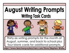 Thirty-six writing prompts for the month of August, summer, and back to school plus four blank cards for additional prompts.These would be great for early finishers, a writing center, or table talk.