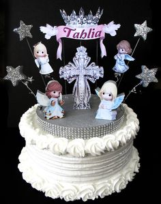 Baptism cake topper 3D Precious Moments cross by DesignsByKeiko