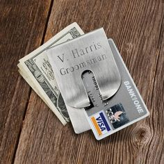 Our most popular money clip, this sophisticated clip is a masterpiece of balance and symmetry. Light weight yet durable. Help him keep his bills and credit card
