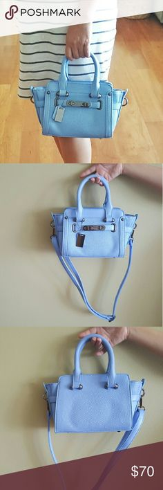 Leather Double Turn-lock Mini Shoulder Bag Beautiful classic bag/tote design in trendy blue hue. Leather material, double handles with removable straps, silver plated hardware. Brand new. Fits mini iPad and much more. Boutique Bags Crossbody Bags
