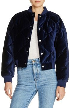 Women's Maje Quilted Velvet Bomber Jacket #ad #style