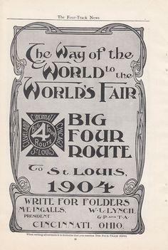 1904 CCC STL Big Four Railroad Ad Big Four Route to St Louis World's Fair