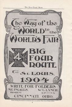 1904 CCC STL Big Four Railroad Ad Big Four Route to St Louis World's Fair